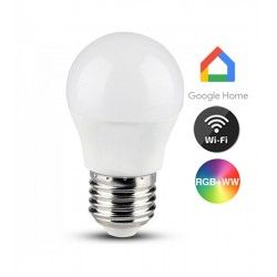 E27 LED V-Tac 5W Smart Home LED pære - Virker med Google Home, Alexa og smartphones, E27, G45