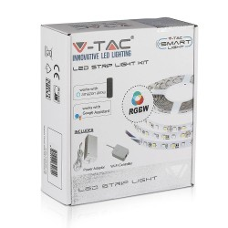 LED pærer og spots V-Tac 10W/m RGB+W LED strip komplet kit - 5m, 60 LED pr. meter, Smart Home /u fjernbetjening
