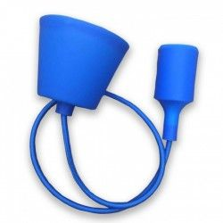 V-Tac Blue pendel with fabric cord - 230v, E27 silicone socket