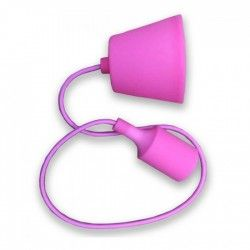V-Tac Pink pendel with fabric cord - 230v, E27 silicone socket