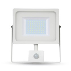 VT-4955 50W SMD PIR SENSOR SLIM FLOODLIGHT WHITE BODY