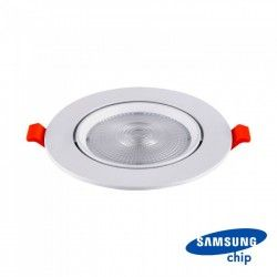 LED downlights V-Tac 10W LED spotlight - Hul: Ø8 cm, Mål: Ø9,5 cm, 3 cm høj, Samsung LED chip, 230V