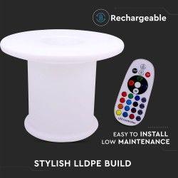 Havelamper V-Tac RGB LED bord - Genopladelig, med fjernbetjening, Ø70x54 cm