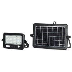 Projektører med sensor V-Tac 10W LED Solcelle projektør - Solcelle medfølger, indbygget batteri, med sensor, udendørs