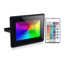 Projektør V-Tac 30W LED projektør RGB - Med RF fjernbetjening, udendørs