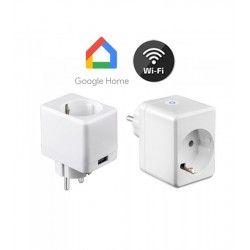 Smart Home Enheder V-Tac Smart Home Wifi stikkontakt - Virker med Google Home, Alexa og smartphones, med USB udtag, 230V