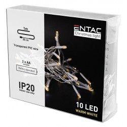 Julelys 1 meter indendørs LED julelyskæde - Batteri, 10 LED, varm hvid