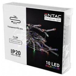 Julelys 1 meter indendørs LED julelyskæde - Batteri, 10 LED, multicolor