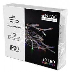 Julelys 2 meter indendørs LED julelyskæde - Batteri, 20 LED, multicolor