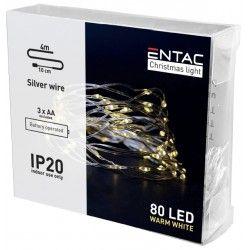 Julelys 4 meter indendørs LED julelyskæde - Batteri, 80 LED, varm hvid
