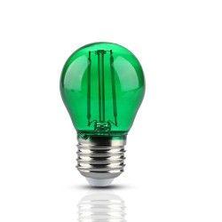 E27 LED V-Tac 2W Farvet LED kronepære - Grøn, Kultråd, E27