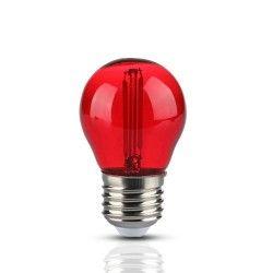 E27 LED V-Tac 2W Farvet LED kronepære - Rød, Kultråd, E27