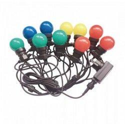 Elmateriel V-Tac LED lyskæde med 10 stk. 0,5W RGB pærer - 5 meter, 230V, inkl. lyskilde