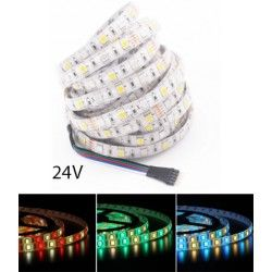 24V RGB+WW 12W/m RGB+WW LED strip - 5 meter, IP20, 60 LED pr. meter, 24V