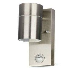 Lamper V-Tac væglampe m. sensor - IP44 udendørs, rustfri, GU10 fatning, uden lyskilde