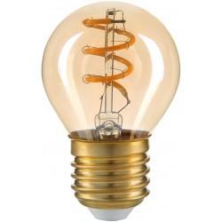 E27 LED 3W LED pære - Kultråd, røget glas, G45, E27, 230V