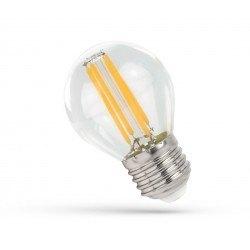 E27 LED 4W LED kronepære - G45, Kultråd, klart glas, E27