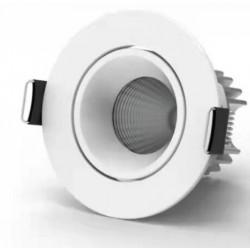 Indbygningsspots 7W 12V LED indbygningsspot - Hul: Ø6,5 cm, Mål: Ø7,9 cm, COB LED, hvid kant, dæmpbar