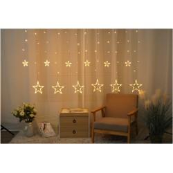 Julelys 2 x 1 m. varm hvid stjernetæppe LED - 138 LED, IP44 udendørs, timer, 230V