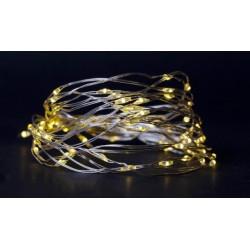 Julelys 4 m. varm hvid LED julelyskæde - 80 LED, indendørs, batteri