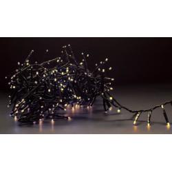 Julelys 8 m. varm hvid cluster LED julelyskæde - 400 LED, IP44 udendørs, 230V