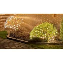 Julelys 2 x 1,5 m. varm hvid LED julelyskædenet - 160 LED, IP44 udendørs, 230V