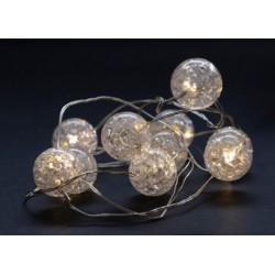 Julelys 1 m. kugle LED julelyskæde - 10 LED, indendørs, varm hvid, batteri