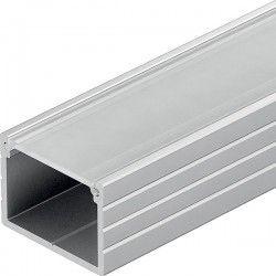 230V Aluprofil Type W til IP65 og IP68 LED strip - Bred, 1 meter, inkl. matteret cover og klips
