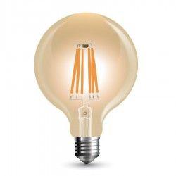 E27 Globe LED pærer V-Tac 8W LED globepære - Kultråd, Ø9,5 cm, dæmpbar, ekstra varm hvid, E27
