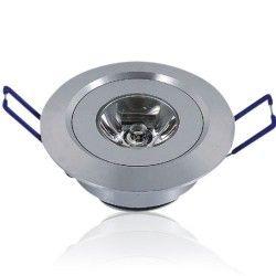 LED downlights 1W indbygningsspot, 25 grader spredning - Hul: Ø4,4-4,8 cm, Mål: Ø5,2 cm, 2m ledning