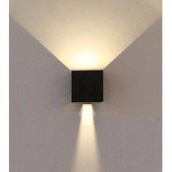 Udendørs væglamper V-Tac 6W LED sort væglampe - Firkantet, justerbar spredning, IP65 udendørs, 230V, inkl. lyskilde