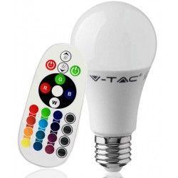 E27 LED V-Tac 9W RGB LED pære - Med RF fjernbetjening, E27