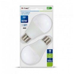 E27 LED V-Tac 9W LED pære - 3-trin dæmpbar, A60, on/off dæmpbar, E27