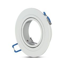 Indendørs indbygningsspots Downlight kit uden lyskilde - Hul: Ø7,5 cm, Mål: Ø9,1 cm, mat hvid, vælg MR16 eller GU10 fatning